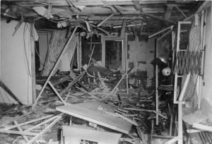Wolfsschanze 1944 r. widok po zamachu 20 lipca na Hitlera źr. Bundesarchiv, Bild 146-1972-025-12 - CC-BY-SA, Wikimedia - Commons CC