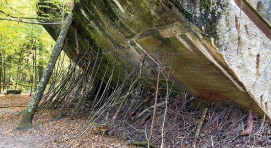 Pochylona ściana bunkra Wilczy Szaniec